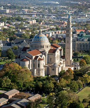 Aerial view of the Basilica of the National Shrine of the Immaculate Conception