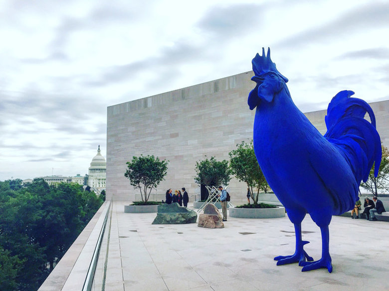 Katharina Fritsch's Hahn/Cock - Blue Rooster Sculpture - National Gallery of Art East Building in Washington, DC