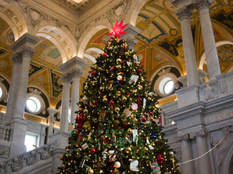 Christmas Tree at the Great Hall of the Thomas Jefferson Building - Library of Congress - Washington, DC
