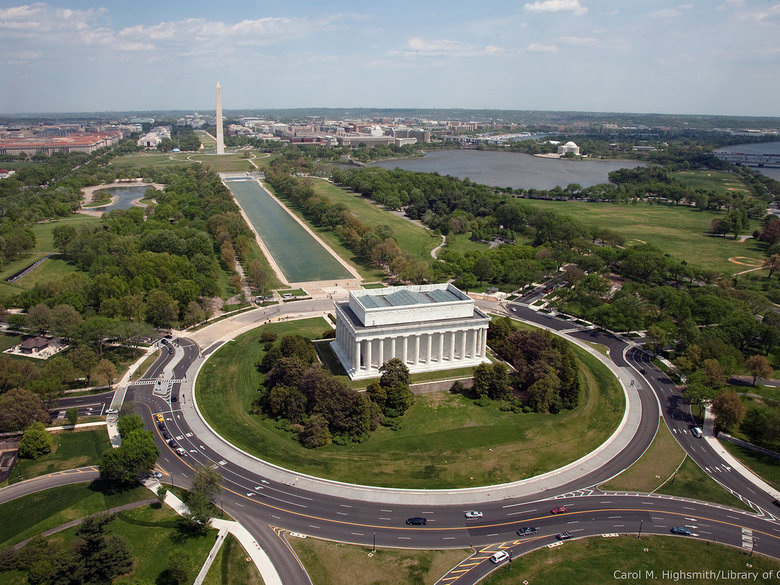 Aerial Shot of the National Mall with All Memorials