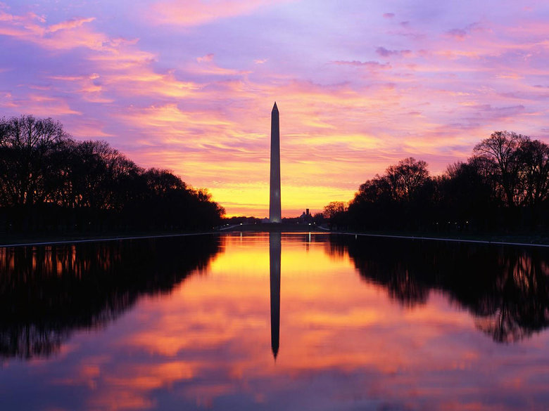 Washington Monument at Sunrise over the Reflecting Pool