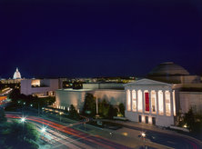 National Gallery of Art East and West Buildings at night - Museums in Washington, DC