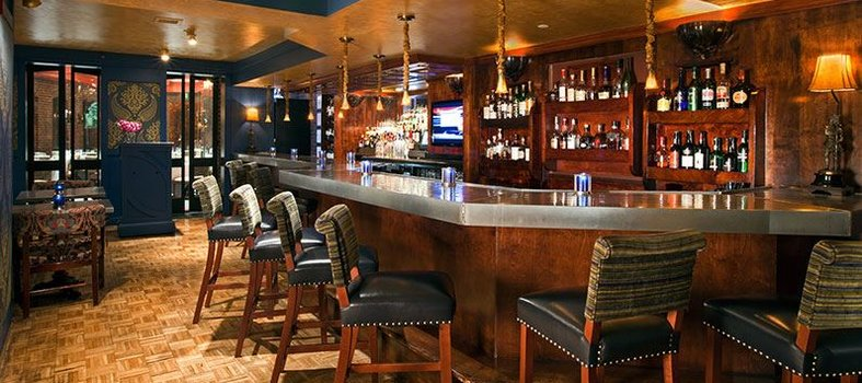 Kick back in elegant English style at the Blue Bar Lounge
