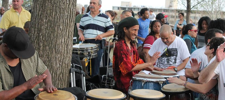 Dance in the drum circle on Sundays at Meridian Hill Park