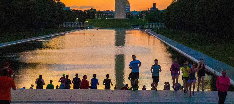 Enjoy the serenity of the memorials and monuments at sunrise