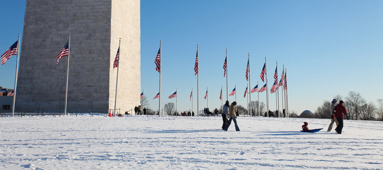 Sled with monuments as your backdrop