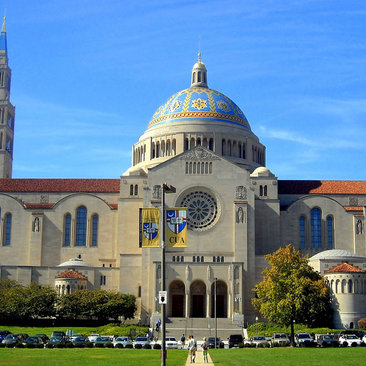 Basilica of the National Shrine of the Immaculate Conception on a sunny day