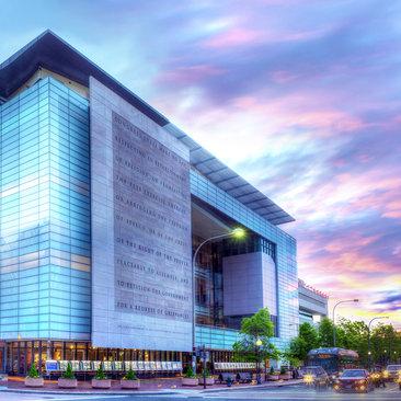 Newseum exterior at sunset - Museums in Washington, DC